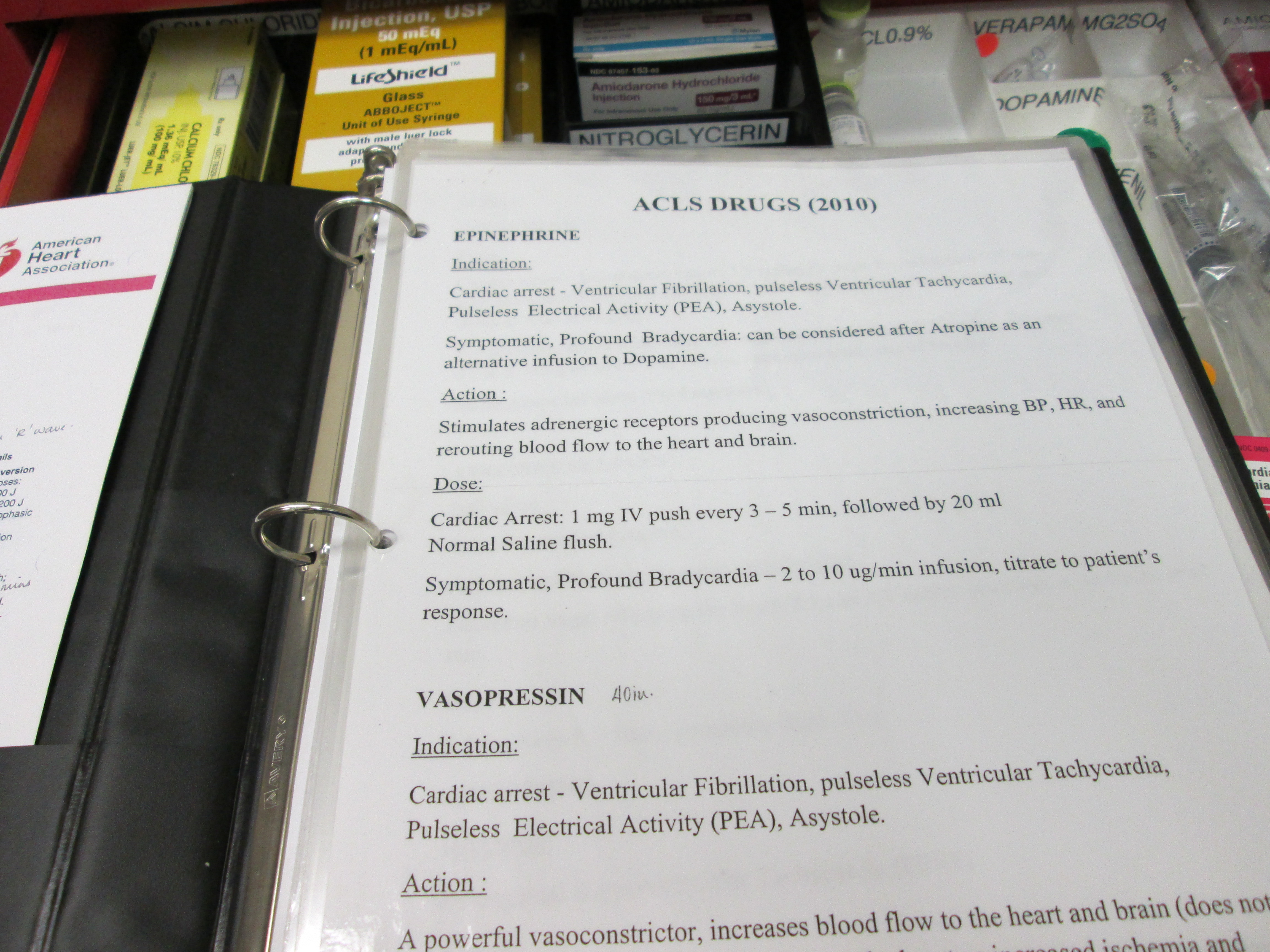 Copy of ACLS Algorithms on top of the Crash Cart